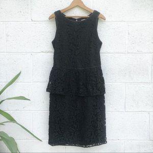 Black Lace Peplum Midi Dress